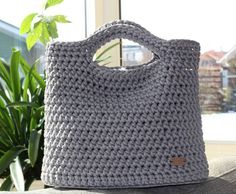 Crochet bag (from rope with lining) handmade by me color light grey (59.00 EUR) by CrochetFashionLT