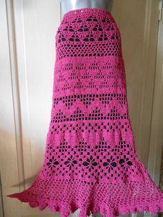 Crochet Skirt Long Cotton Skirt Gypsy Skirt Maxi by idafrompushkin