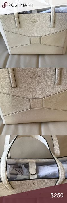 NWT KATE SPADE FRANCISCA BRIDGE PLACE CREAM LARGE Kate spade Francisco bridge place cream  Kate Spade  MSRP $428  Approximate dimensions: 17.5″ L x 12″ H x 5.25″ D  Model: Bridge Place Francisca (WKRU3674)   Light Cream/Off White Large Two Strap Tote  Pebbled Leather Bow embedded into front design   Hidden snap closure Kate Spade signature lining Inner zip pocket Side pockets 14 k gold plated brass hardware kate spade Bags Totes