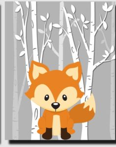 Woodland Critters, Woodland Baby, Woodland Creatures, Woodland Animals, Fox Nursery, Nursery Art, Art Drawings For Kids, Grafik Design, Silhouette Projects