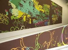 INGRID CALAME  Tracing up to the L.A. River: Frog Town turf war, 2006  Latex and oil enamel on wall  Wall drawing in 3 sections