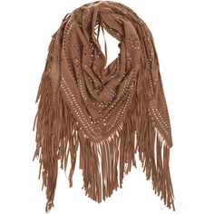 TREASURES Alya Studded Suede Scarf ($565) ❤ liked on Polyvore featuring accessories, scarves, cowboy scarves, fringe scarves, western scarves, boho scarves and fringed shawls