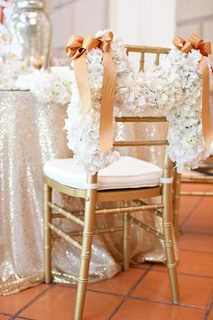 Wedding ● Chair Decor ● Hydrangea Garland Tablescape Centerpiece www.tablescapesbydesign.com https://www.facebook.com/pages/Tablescapes-By-Design/129811416695