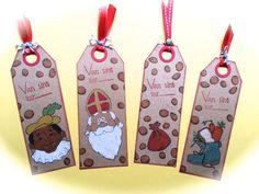Kadolabels gemaakt met de stempelset van Joy! Sinterklaas op kraftpapier