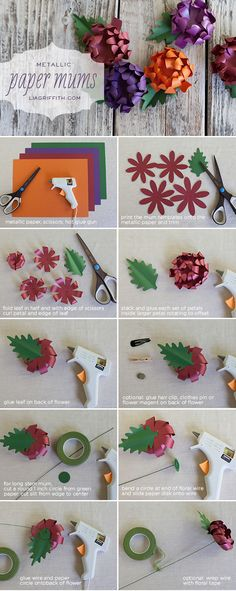 Making Paper Mums with Plum, Purple and Orange Metallic Papers