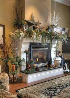Woodsy rustic and natural Christmas mantel decor.  @Ellen Page Krzemien @Ellen Krzemien @buffalonystager