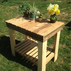 Large Reclaimed Pallet & Pine Potter's Table by TheMarathonCompany