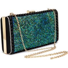 Yoins Diamante Clutch Bag with Green Sequin Front ($41) ❤ liked on Polyvore featuring bags, handbags, clutches, yoins, sequined clutches, sequin handbags, sequin purse, party handbags and party purses