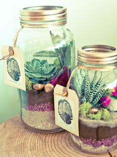 Organic Mason Jar Terrarium | 60 Cute and Easy DIY Gifts in a Jar | Christmas Gift Ideas