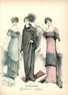 Evening dresses and evening coat, 1912 the Netherlands, De Gracieuse