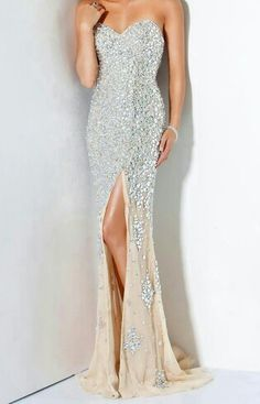Sparkly Silver Prom Dress