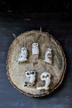 3H Hand Carved Wood Owl Ornament, 3 Styles