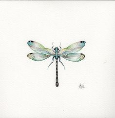 9x7 Watercolour Dragonfly.. No.3 Handpainted .... . NOT A PRINT ..Original Painting Blue
