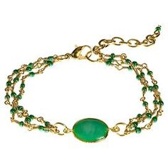 """Green beaded bracelet with gold-plating.  Product: BraceletConstruction Material: Alloy metal, gold-plating and plastic beadsColor: Green and goldDimensions: 8-10.75"""" W (flat)"""