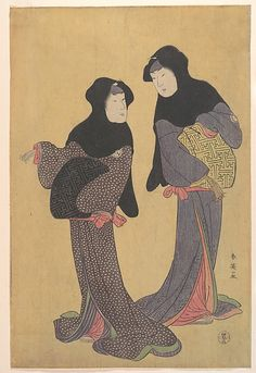 Two Women Conversing  Katsukawa Shun'ei  (Japanese, 1762–1819)  Period: Edo period (1615–1868) Culture: Japan Medium: Polychrome woodblock print; ink and color on paper