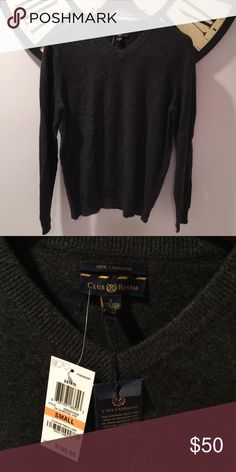 Men's cashmere sweater Cashmere, v neck charcoal grey sweater NWT Sweaters V-Neck