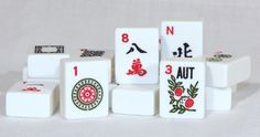166W White Mah Jongg Tiles