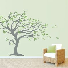 Tree Blowing in the Wind Wall Decal    Or maybe this one in the office...