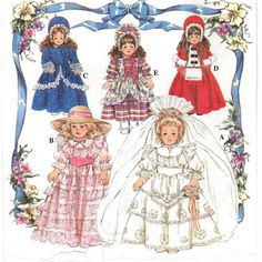 A Colonial- and Victorian-Style Doll Clothes Sewing Pattern: Uncut - For & Collector Dolls Doll Clothes Patterns, Clothing Patterns, Sewing Patterns, Bo Peep Dress, Southern Belle Dress, American Girl Felicity, Draped Fabric, Simplicity Patterns, Victorian Fashion