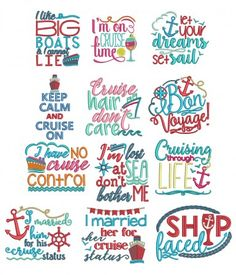 Cruise Lovers Word Art Machine Embroidery Designs by Juju Bon voyage cruise hair sayings