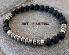 Creativity Men's Pyrite & Lava mala bracelet, tribal bracelet, Pyrite bracelet, Lava bracelet, wrist mala, Reiki Charged, free shipping