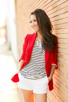 Black and white, red blazer ♡