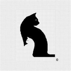 COZYCONCEPTS PATTERN GRAPHS CAT KITTEN WHITE BLACK  CROCHET AFGHAN PATTERN GRAPH