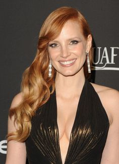 Jessica Chastain wore Piaget diamonds earrings to the 72nd Annual Golden Globes