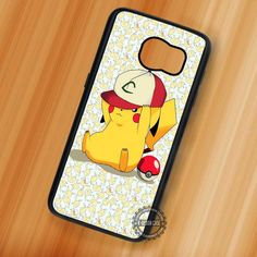 Wearing Ash Hat Pikachu Pokemon Cartoon Cute - Samsung Galaxy S7 S6 S5 Note 7 Cases & Covers