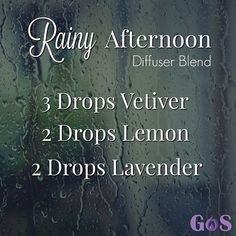 TOP 7 LAVENDER Oil BENEFITS. LAVENDER DIY Recipes The combination of Vetiver, Lemon and Lavender in this Rainy Afternoon Diffuser Blend will help you relax on the perfect rainy day.