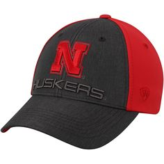 huge selection of f588f 3a863 Nebraska Cornhuskers Top of the World Reach Structured Adjustable Hat –  Charcoal Scarlet
