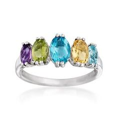 Five graduated oval gemstones create a colorful array in this ring. Features 2.00 ct. tot. gem. wt. of amethyst, peridot, blue topaz, citrine and aquamarine set in sterling silver. Multi-stone ring. Free shipping & easy 30-day returns. Fabulous jewelry. Great prices. Since 1952.