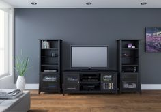 The TV stand with audio towers is a modular form that mimics most of the…