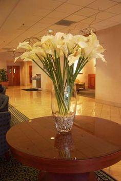 Contemporary Silk Floral Arrangements, silk Water Lillies, Artificial Bamboo