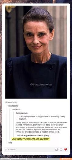 Funny pictures about Older Audrey Hepburn. Oh, and cool pics about Older Audrey Hepburn. Also, Older Audrey Hepburn. Katharine Hepburn, Audrey Hepburn Unicef, Audrey Hepburn Old, Quotes Fighting, I Look To You, Xavier Dolan, Faith In Humanity Restored, Alter, Good People
