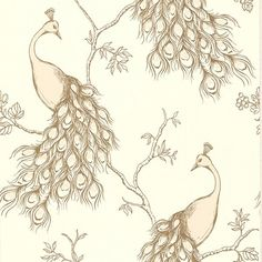 This neutral peacock wallpaper is truly stunning. Metallic gold accents the plume and branches for a glamorous look. The sketched design gives an artistic flair. Relying on Asian motifs this chinoiserie wallpaper has both mystique and beauty. Blush Wallpaper, Trellis Wallpaper, Botanical Wallpaper, Modern Wallpaper, Wallpaper Samples, Print Wallpaper, Home Wallpaper, Designer Wallpaper, Indian