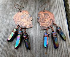 Etched Copper Earrings Human Skull Earrings Skull Jewelry Copper Wire Titanium Quartz Aura Quartz Crystal Earrings Pastel Goth Skeleton by AcidEarthShop on Etsy