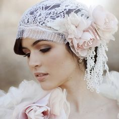 Pastel Blush Juliet Bridal Cap Chantilly Lace Silk Veil 740. $455.00, via Etsy.