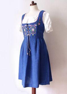 Vintage Dirndl Dress  Blue 1970's Dirndl von PaperdollVintageShop, €69,90