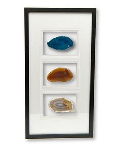 Look what I found on #zulily! Blue, Red & Natural Framed Agates #zulilyfinds