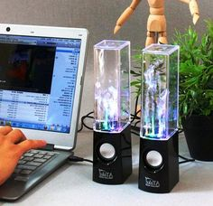 Reactive light fountain speakers dance in time with the music. $34.99.