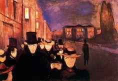 Evening on Karl Johan Street, 1892 by Edvard Munch, European period. Franz Marc, Paul Klee, Paul Cezanne, Kandinsky, Claude Monet, Edvard Munch, Post Impressionism, Art Database, Norway