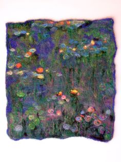 """NEEDLE FELTING CONTEST ENTRY~NEEDLE FELTED WOOL PAINTING MONET STYLE """"WATERLILIES""""~by LAURA"""