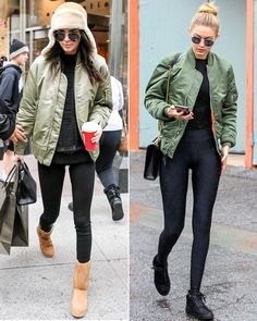 10+Celebrities+Prove+the+Army+Green+Bomber+Jacket+Is+the+Season's+New+Must-Have+from+InStyle.com