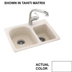 Swan Drop In Undermount Solid Surface 25 1 Hole 60 40 Double Bowl Kitchen Sink White Swanstone