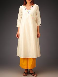 Buy Cream- Multi-Color Trims Chanderi Hand Block Printed Angrakha Kurta Online at Jaypore.com