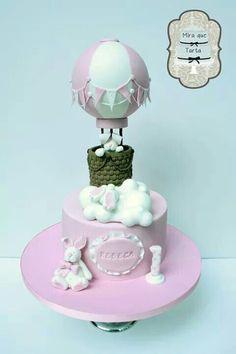 Baby girl hot air balloon bunny cake
