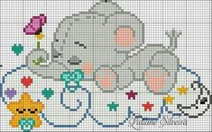 This Pin was discovered by Ana Baby Cross Stitch Patterns, Cross Stitch Baby, Cross Stitch Animals, Cross Stitch Charts, Loom Patterns, Beading Patterns, Embroidery Patterns, Loom Beading, Cross Stitching