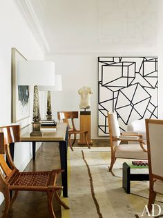 Traditional with flairs of modern in this authentic living space by Delphine Krakoff