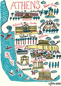 Athens Cityscape by Julia Gash Greece Map, Greece Travel, Mykonos Greece, Greece Islands, Santorini, Athens Map, Visual Map, Tourist Map, Travel Illustration